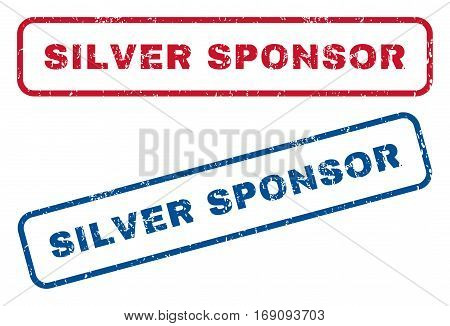 Silver Sponsor text rubber seal stamp watermarks. Vector style is blue and red ink caption inside rounded rectangular shape. Grunge design and scratched texture. Blue and red signs.