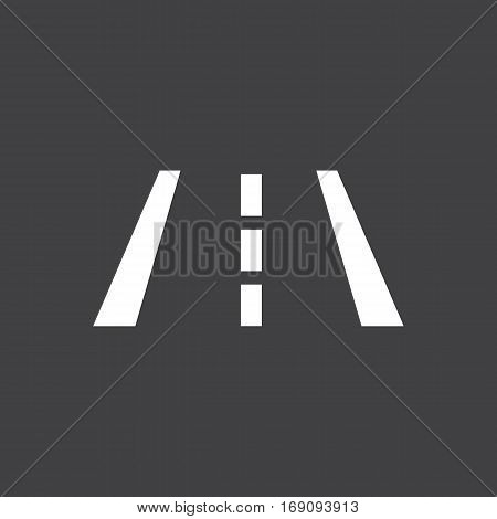 Vector illustration of a sign on the car dashboard on a gray background. The icon indicates a lane change. Button design.