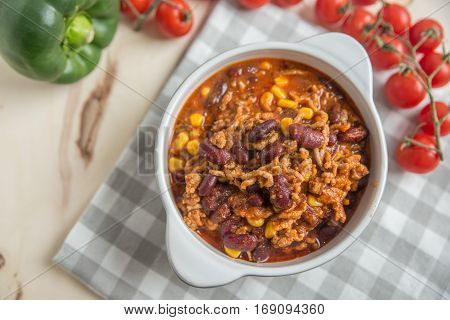 home made Chili con carne in a bowl