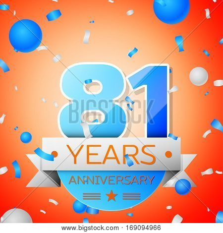 Eighty one years anniversary celebration on orange background. Anniversary ribbon