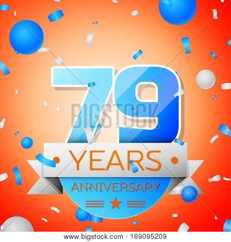 Seventy nine years anniversary celebration on orange background. Anniversary ribbon