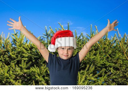 Handsome boy in a red cap of Santa Claus smiling on background - green hedge firs