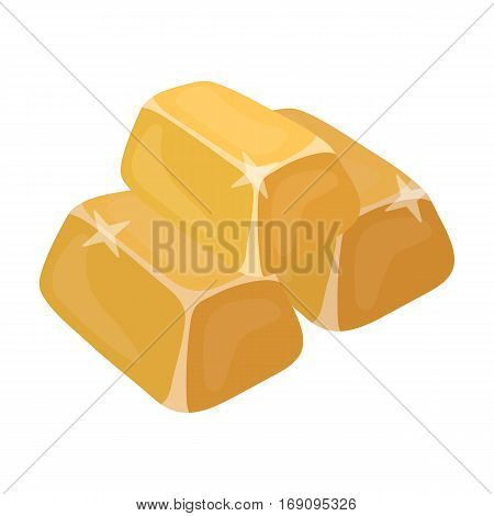 Stack of golden bars icon in cartoon design isolated on white background. Precious minerals and jeweler symbol stock vector illustration.