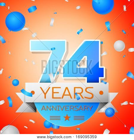 Seventy four years anniversary celebration on orange background. Anniversary ribbon