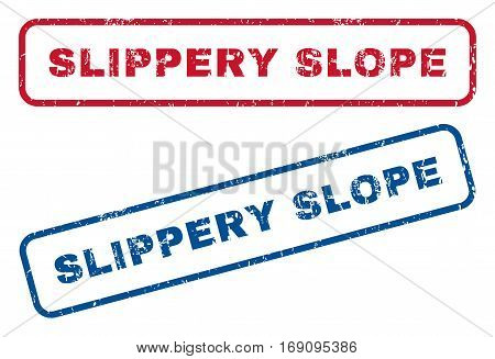 Slippery Slope text rubber seal stamp watermarks. Vector style is blue and red ink tag inside rounded rectangular shape. Grunge design and dust texture. Blue and red stickers.