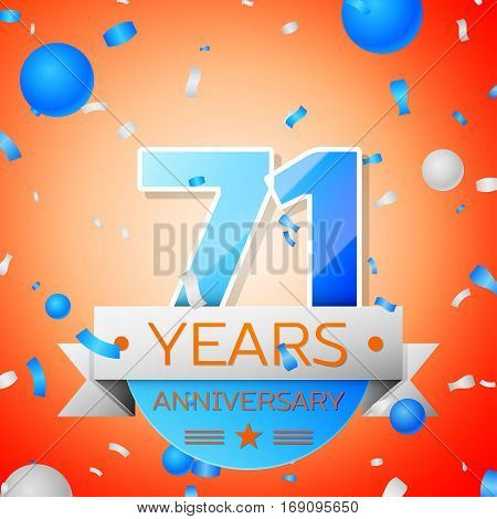 Seventy one years anniversary celebration on orange background. Anniversary ribbon