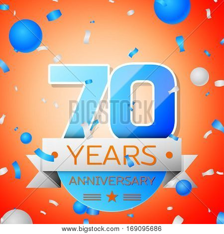 Seventy years anniversary celebration on orange background. Anniversary ribbon