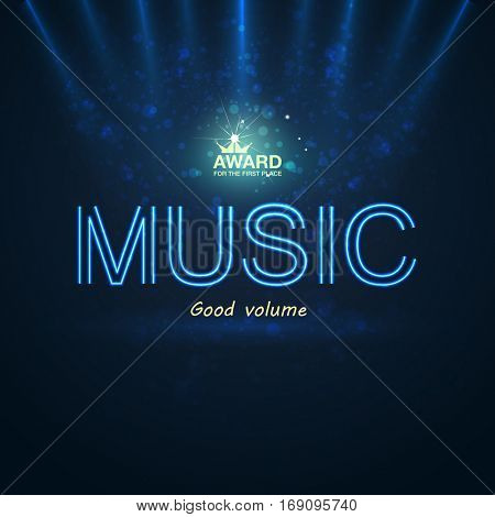 Template for music neon poster background with text sign spotlight and stage. Vector illustration