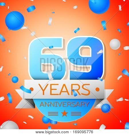 Sixty nine years anniversary celebration on orange background. Anniversary ribbon