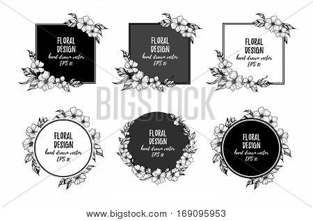 Hand Drawn Vector Illustration - Frames With Flowers And Leaves. Perfect For Invitations, Quotes, Ta