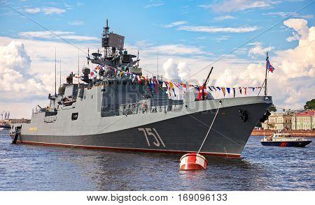 ST. PETERSBURG RUSSIA - JULY 31 2016: Patrol ship