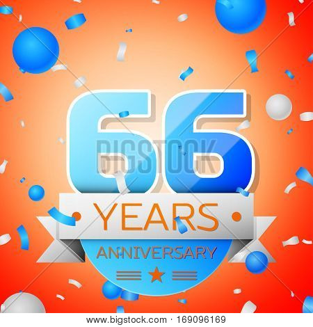 Sixty six years anniversary celebration on orange background. Anniversary ribbon