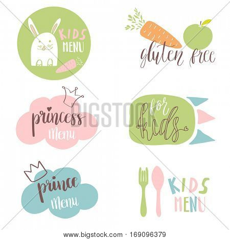 Set of Kids menu logos for cafe or restaurant. Funny design for kids and baby food. Stickers, labels, tags design.