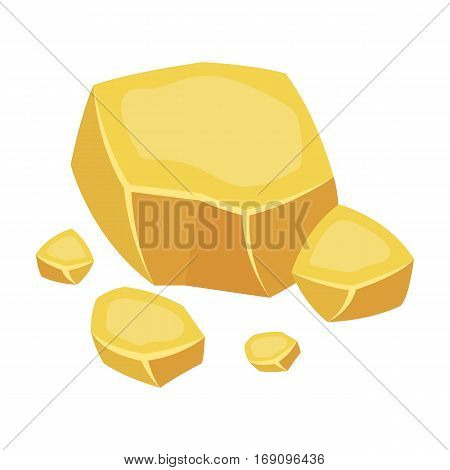 Copper ore icon in cartoon design isolated on white background. Precious minerals and jeweler symbol stock vector illustration.