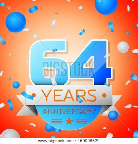 Sixty four years anniversary celebration on orange background. Anniversary ribbon