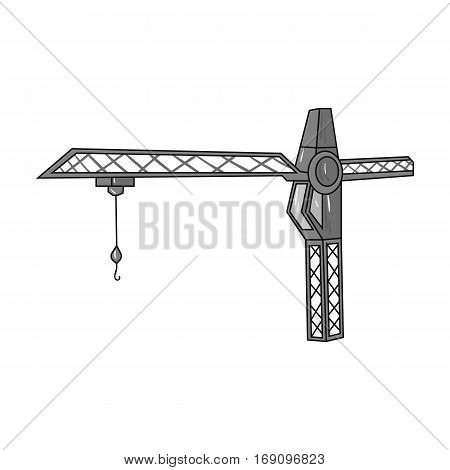 Building crane icon in monochrome design isolated on white background. Architect symbol stock vector illustration.