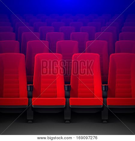 Movie theater with rows of red empty chairs and spotlight, cinema hall seats, vector illustration