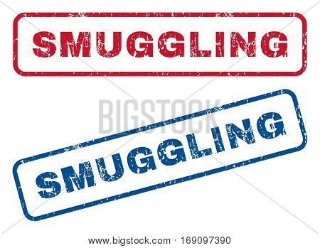 Smuggling text rubber seal stamp watermarks. Vector style is blue and red ink tag inside rounded rectangular banner. Grunge design and unclean texture. Blue and red stickers.