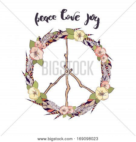 Vector flower wreath of feathers with flowers and leaves in a boho style. Symbol of peace made of branches is in the center of the wreath. Decorative Boho element for design of invitations covers notebooks and other items