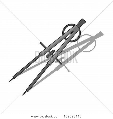 Dividers icon in monochrome design isolated on white background. Architect symbol stock vector illustration.