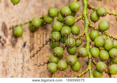 Dried of rattan fruit on wooden boardagriculture product