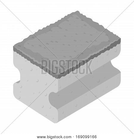 Dishwashing sponge icon in monochrome design isolated on white background. Cleaning symbol stock vector illustration.