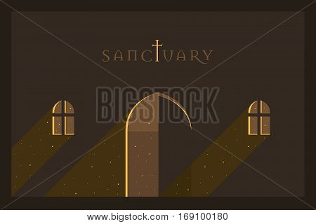 Vector Minimal Poster: Sanctuary Retro Illustration Background