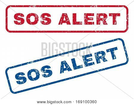 Sos Alert text rubber seal stamp watermarks. Vector style is blue and red ink tag inside rounded rectangular banner. Grunge design and dust texture. Blue and red signs.