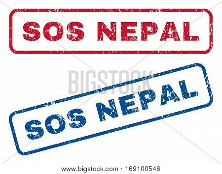 Sos Nepal text rubber seal stamp watermarks. Vector style is blue and red ink caption inside rounded rectangular banner. Grunge design and dirty texture. Blue and red emblems.