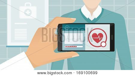 Doctor visiting a patient at the hospital he is using an augmented reality app and monitoring heartbeat healthcare and technology concept