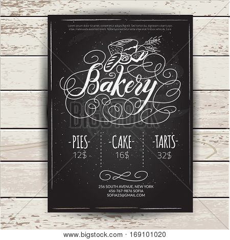 Bakery menu design and bakery hand drawn vector illustration. Retro cover restaurant menu template.