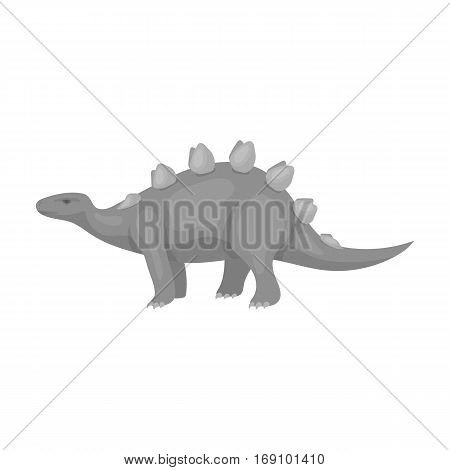 Dinosaur Stegosaurus icon in monochrome design isolated on white background. Dinosaurs and prehistoric symbol stock vector illustration.