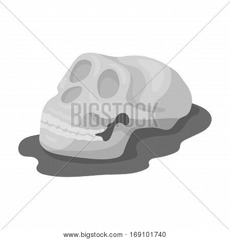 Human fossils icon in monochrome design isolated on white background. Dinosaurs and prehistoric symbol stock vector illustration.