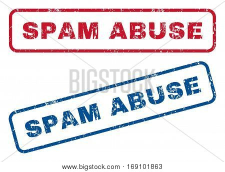 Spam Abuse text rubber seal stamp watermarks. Vector style is blue and red ink tag inside rounded rectangular shape. Grunge design and unclean texture. Blue and red stickers.