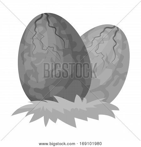 Eggs of dinosaur icon in monochrome design isolated on white background. Dinosaurs and prehistoric symbol stock vector illustration.