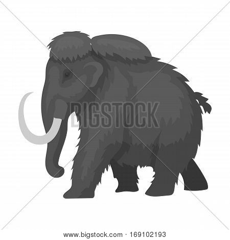 Mammoth icon in monochrome design isolated on white background. Dinosaurs and prehistoric symbol stock vector illustration.