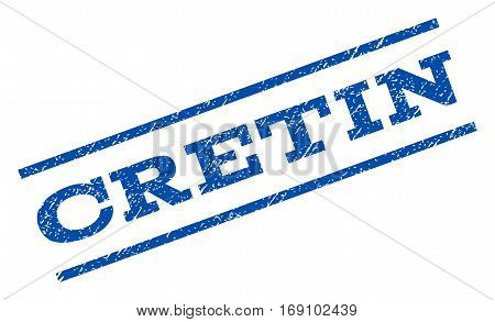 Cretin watermark stamp. Text caption between parallel lines with grunge design style. Rotated rubber seal stamp with scratched texture. Vector blue ink imprint on a white background.