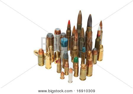 ammunition of various calibres, isolated in white