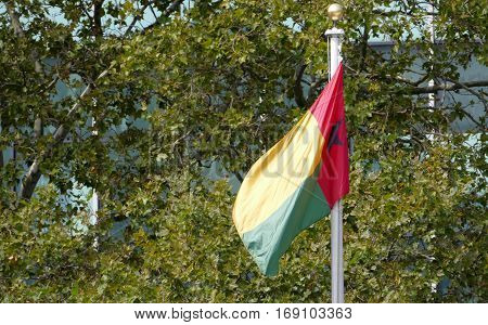 New York, United States. September 22Nd 2016 - Guinea Bissao Flag In The Front Of United Nations Hea
