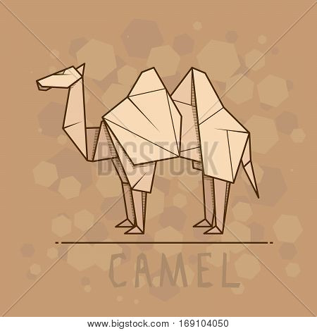 Vector simple illustration paper origami of camel.