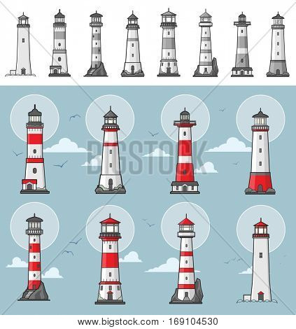 Collection of different lighthouse illustrations colored and monochrome versions