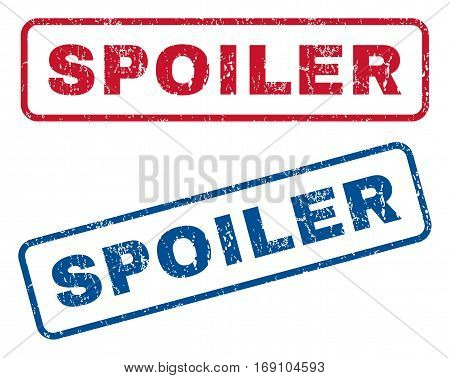 Spoiler text rubber seal stamp watermarks. Vector style is blue and red ink tag inside rounded rectangular shape. Grunge design and scratched texture. Blue and red stickers.