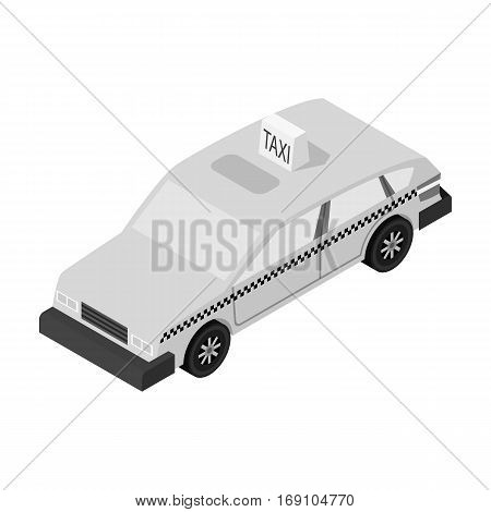 Taxi car icon in monochrome design isolated on white background. Transportation symbol stock vector illustration.