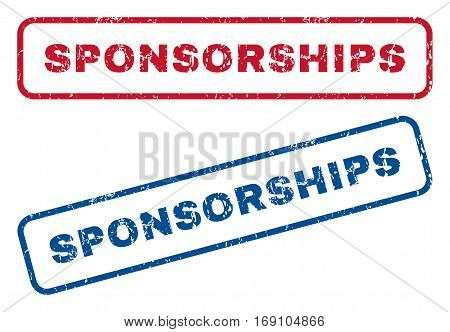 Sponsorships text rubber seal stamp watermarks. Vector style is blue and red ink tag inside rounded rectangular banner. Grunge design and scratched texture. Blue and red signs.