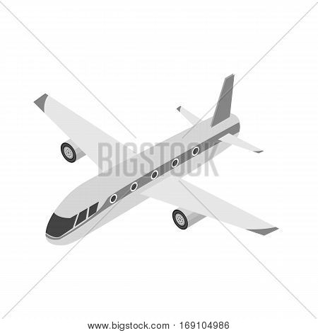 Airplane icon in monochrome design isolated on white background. Transportation symbol stock vector illustration.