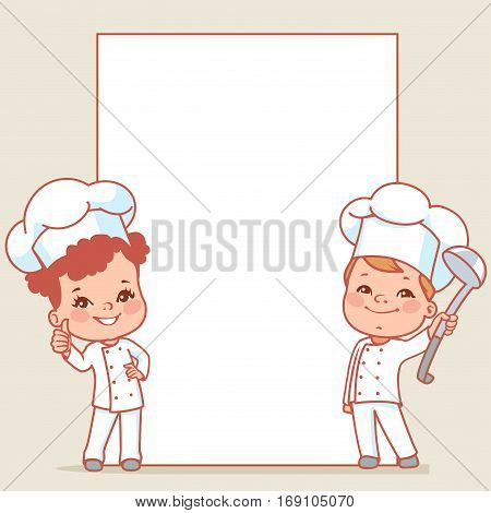 Cartoon kids as little chefs. Cute boy and girl as cooks. Happy children wearing chef hat. Smiling baby holding menu. Blank text frame. Vector illustration isolated on white background.