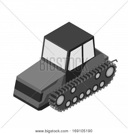 Tracked tractor icon in monochrome design isolated on white background. Transportation symbol stock vector illustration.