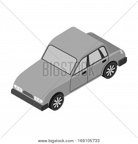 Car icon in monochrome design isolated on white background. Transportation symbol stock vector illustration.