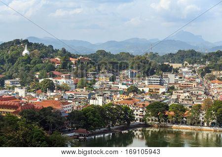 Panoramic view on former Sri Lanka capital Kandy