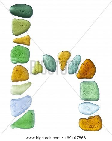 sea glass letters isolated on white background
